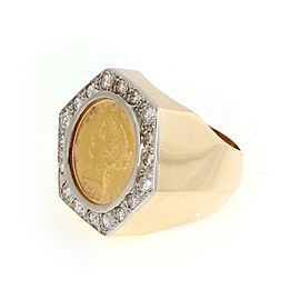 Estate 22k Liberty 1879 Gold Coin 14k Gold Octagon Shape Ring Size - 8.5