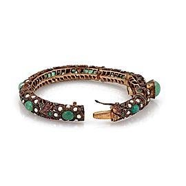 Vintage 18.5ct Emerald Ruby Seed Pearls 9k Gold Filigree Snake Bangle