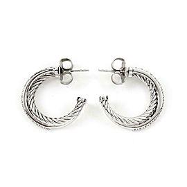 David Yurman Crossover Diamond 925 Silver 14k White Gold Hoop Earrings