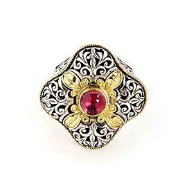 Konstantino Pink Tourmaline 18k Gold 925 Silver Filigree Floral Top Ring