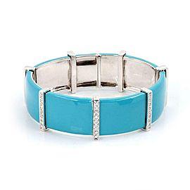 Modern 1.40ct Diamond Turquoise Enamel 18k White Gold Wide Bracelet