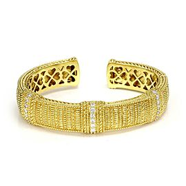Judith Ripka 1.15ct Diamond 18k Yellow Gold Cuff Bracelet