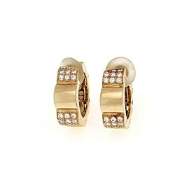 Chanel Camellia Diamond 18k Yellow Gold 6mm Huggie Clip On Earrings Small