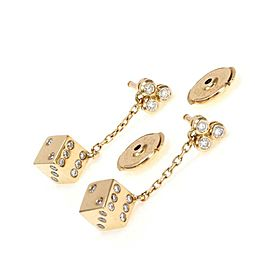 Carrera y Carrera Diamond 18k Yellow Gold Game Dice Dangle Earrings