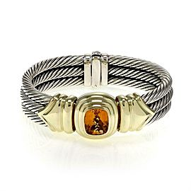 David Yurman Citrine 925 Silver 14k Yellow Gold Triple Cable Band Bracelet