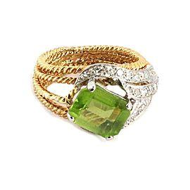 Hammerman Brothers 2.85ct Diamond Peridot 18k Two Tone Gold Ring Size 6