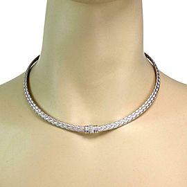 Roberto Coin Diamond 18k White Gold Parquet Silk Weave Choker Necklace