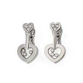 Chopard Happy Diamond 18k White Gold Double Hearts Dangle Earrings