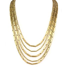 "Henry Dunay 18k Yellow Gold Long 5 Strand Cylinder Link Necklace 235 grams 36""L"