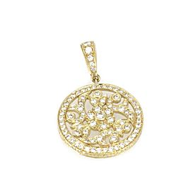 Estate 1 Carat Diamond 18k Yellow Gold Round Floral Pendant