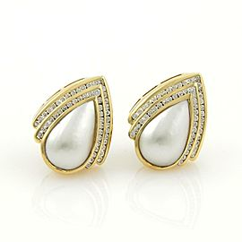 Charles Krypell 2ct Diamonds & Mabe Pearl 18k Yellow Gold Post Clip Earrings