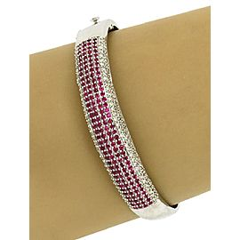 Beautiful 6.00ct Rubies & Diamonds Dome Bangle Bracelet