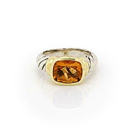 David Yurman Nobelesse Citrine 925 Silver 14k Yellow Gold Oval Cable Ring
