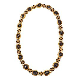 Vintage Garnet 14k Yellow Gold Floral Link Collar Necklace
