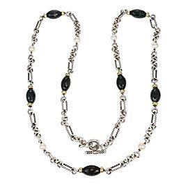 "David Yurman Onyx Pearls 925 Silver 18k Gold Toggle Clasp Chain Necklace 36""L"