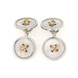 Tiffany & Co. 925 Silver 18k Yelow Gold Button Chain Cufflinks