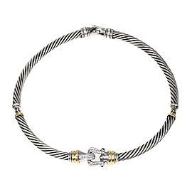 David Yurman Diamond Amethyst 925 Silver 18k Gold Section Cable Necklace