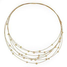 H.Stern Diamond 18k Yellow Gold 7 Strand Bead Motifs Bib Necklace Box Paper