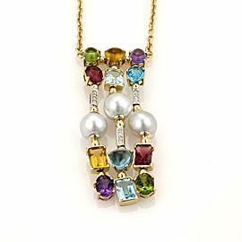 Estate 22.18ct Diamonds Pearls & Multi-Color Gems Drop Pendant 18k Gold Necklace