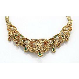 18k Yellow Gold 5ct Diamond & Emerald Fancy Floral Drape Necklace