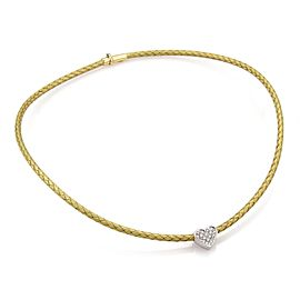 Roberto Coin Diamond 18k Two Tone Gold Silk Weave Cable Choker Necklace