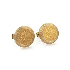 Estate 22k Gold US Indian Head Coin 14k Yellow Gold Round Stud Cufflinks