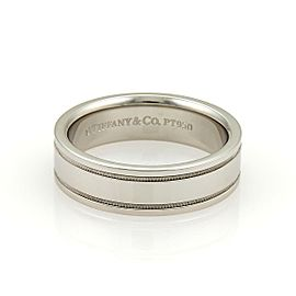 Tiffany & Co. Platinum Double Milgrain 6mm Wedding Band Ring Size 7