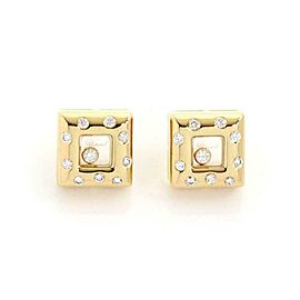 Chopard Happy Diamond 18k Yellow Gold Square Shape Stud Earrings