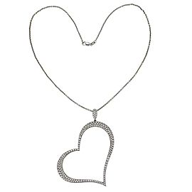 Piaget 2.00ct Diamond Large Open 18k Gold Heart Pendant & 14k WGold Chain