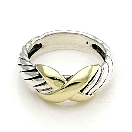 David Yurman Sterling Silver 14k Yellow Gold X Design Cable Band Ring