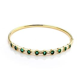 Estate 3.50 Carats Diamond Emerald 18k Yellow Gold Hinged Bangle