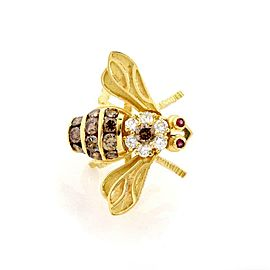 Herbert Rosenthal Diamond & Ruby 18k Yellow Gold Bee Tie Tack Pin