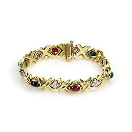 Estate 1 Carat Diamond Multi-Color Gems 18k Gold X Link Bracelet