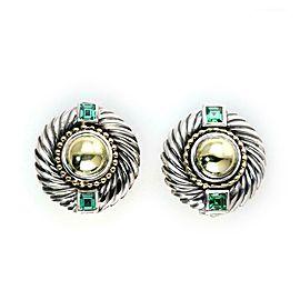 David Yurman Vintage Tsavorite Gems 925 Silver 14k Gold Clip On Earrings