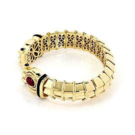 Denior 18k Gold 3.85ct Diamond Ruby Sapphire 15.5mm Wide Flex Cuff Band Bracelet