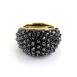 David Yurman Osetra Hematite 18k Gold 925 Silver Beaded Dome Band Ring