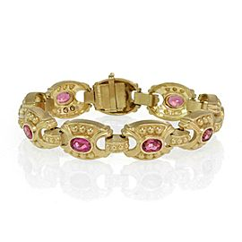 Judith Ripka 9.00ct Pink Tourmaline 18k Yellow Gold Fancy Link Bracelet