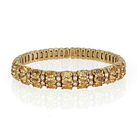 Estate 14 Carats Diamond & Citrin 18k Yellow Gold Flex Cuff Bracelet