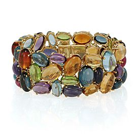Stunning Multicolor Oval Cabochon Gems 18k Yellow Gold 31.5mm Wide Bracelet