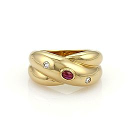 Cartier Diamond Ruby 18k Yellow Gold Crossover Band Ring Size 53 - US 6.5