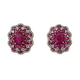 Estate 14.90ct Diamond Ruby 18k White Gold Floral Post Clip Earrings