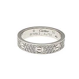 Cartier Love Diamond 18k White Gold 4mm Pave Wedding Ring Size 50 US 5.25 Paper