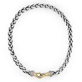 David Yurman 1ct Diamond Sterling Silver 18k Yellow Gold 8mm Chain