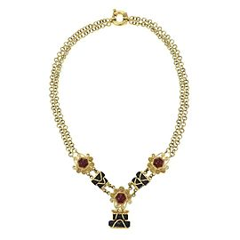 Estate 18k Yellow Gold Ruby Onyx Fancy Pendant & Chain Necklace