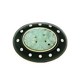 Trianian I Magnin Diamond Jade Onyx 14k Yellow Gold Pendant/Brooch