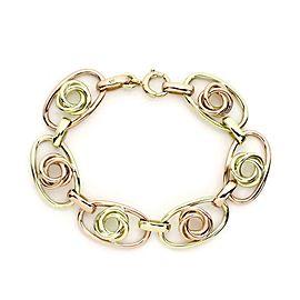 Vintage 14k Yellow & Rose Gold Love Knot Oval Link Bracelet