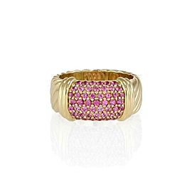 David Yurman 1.00ct Pink Sapphire 18k Yellow Gold Cable Band Ring Size 7