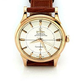 Omega Constellation Automatic 18k Rose Gold Men's Watch New Leather Band