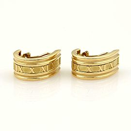 Tiffany & Co. Atlas 18k Yellow Gold Roman Numeral Oval Hoop Earrings
