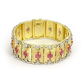 Estate 7 Carats Ruby 18k Yellow Gold Rectangular Floral Link Bracelet